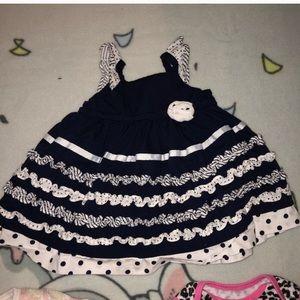 Navy & White Ruffle Polka Dot Nannatte Baby Dress